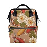 MUOOUM Lotus Fish Koi Diaper Bags Mommy Bag Nappy Nursing Backpack for Baby Care Multi-Function Zipper Casual Travel Backpacks