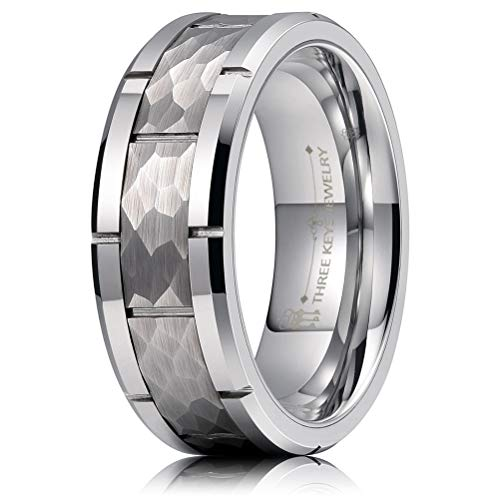 (THREE KEYS JEWELRY 8mm Mens Grooved Hammered Tungsten Carbide Wedding Ring Beveled Edges Multi-Faceted Stepped Silver Bands for Men Women Size 10)
