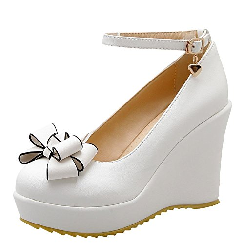 Wedge Carolbar White Lovely Bow Heel Court High Buckle Women's Sweet Shoes qwIwxS4f