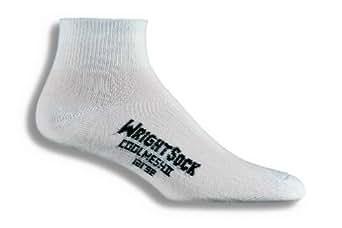 Wrightsock Double Layer CoolMesh II Quarter Socks, 2-Pack (Medium, White)