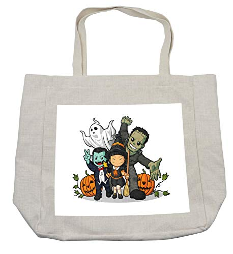 Lunarable Halloween Shopping Bag, Cute Witch Vampire Frankenstein Ghost and Pumpkins Greeting Halloween Celebration, Eco-Friendly Reusable Bag for Groceries Beach Travel School & More, Cream -