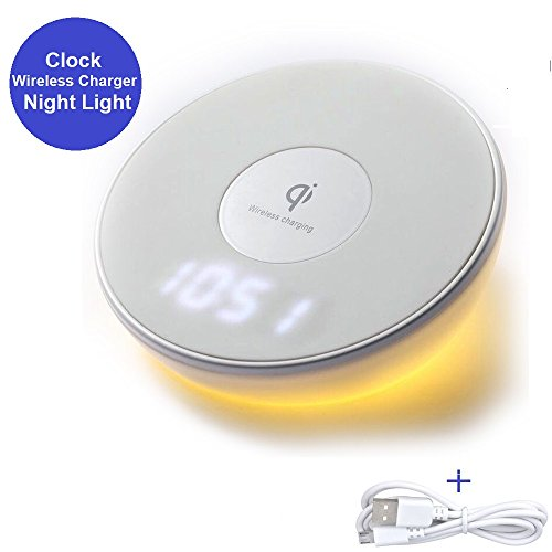 Wireless Charger, Qi Charger Fast Charging Pad Stand Digital Clock Alarm Clock Night Light Led Lamp with Touch Control Compatible iPhone X 8 Plus Samsung Galaxy Note 8 9 S9 S8 S7 All Qi-Enabled Phones