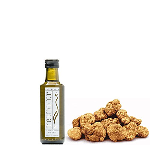 Calivirgin White Truffle Flavor-Crushed Olive Oil (100 ML) - 100% Natural Fresh Flavor, No Additives or Preservatives - Organically and Sustainably Grown