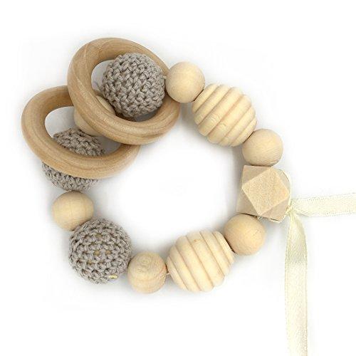 - Amyster Gray Crochet Beads Gum Wood Ring Spiral Beads Handmade Organic Natural Wood Beads Wooden Baby Toys Children Wooden Tooth Gum Bracelet