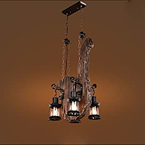 HQLCX Chandelier American Vintage industrial wind coffee bar bar loft solid wood Chandelier