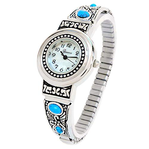 Turquoise Silver Watch Bracelet - Silver Turquoise Decorated Women's Semi-Stretch Bracelet Watch