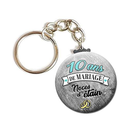 Idee Cadeau 10 Ans.Porte Cles Chainette 3 8 Cm 10 Ans De Mariage Noces D Etain Idee Cadeau Accessoire Anniversaire Mariage Couple