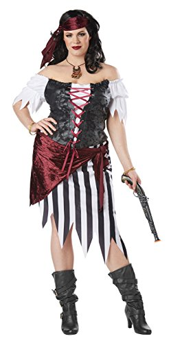 California Costumes Women's Plus Size Pirate Beauty Adult Woman Costume, Black/White, 3X (Plus Pirate Costume)