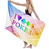 Camp Ursula Rainbow I Love Poker Game Soft Super Water Absorbent Beach Shower Bath Towel