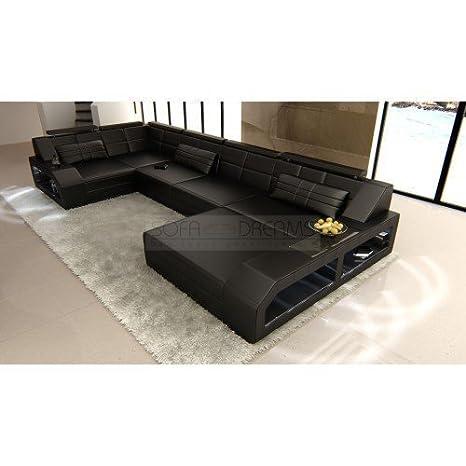 Juego de sofás Arezzo forma de U Negro Diseñador Conjunto de ...