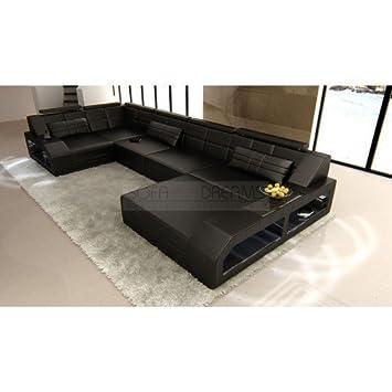 Juego de sofás Arezzo forma de U Negro Diseñador Conjunto de Muebles Para Salón con LED: Amazon.es: Hogar