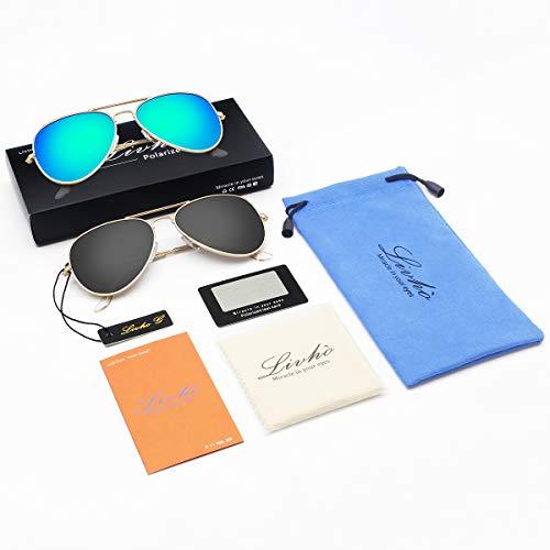 Livhò Sunglasses for Men Women Aviator Polarized Metal Mirror UV 400 Lens Protection (Gold Grey+Blue Green) by Livhò (Image #5)