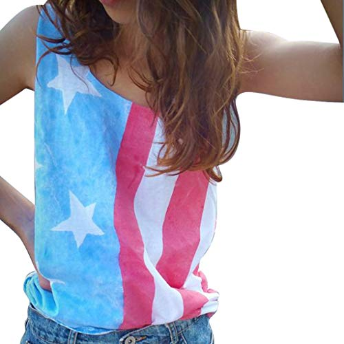 Toponly Women USA American Flag Tank Top Lace Patchwork Loose Fit Sleeveless Patriotic 4th July T Shirts -