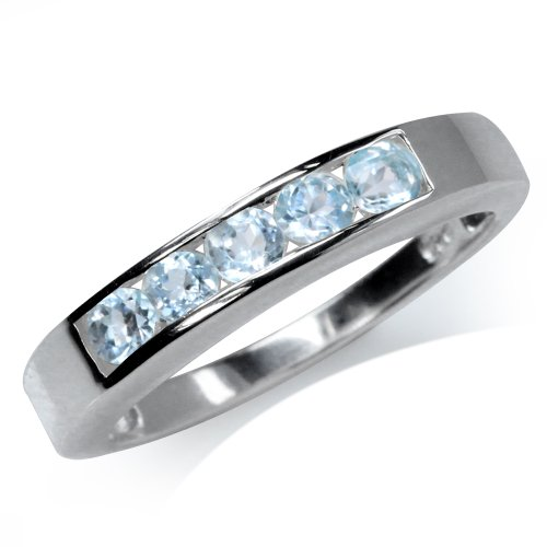 (5-Stone Genuine Blue Topaz 925 Sterling Silver Ring Size 6 )