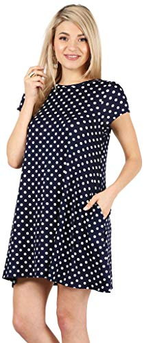 Casual T Shirt Dress for Women Flowy Tunic Dress with Pockets Reg and Plus Size - USA (Size Small, Navy/White Polka Dot-Shrt Slve)