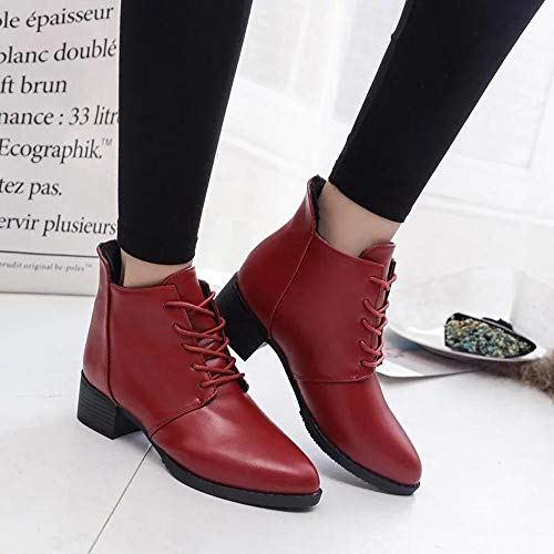 Solid Boots Women's Red Color Boots Boots Lady Heel Retro Lace Color Leather Thick Solid Up Casual FALAIDUO Boots qwvFf4UU