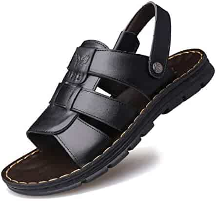3a8b303b552b Mzq-yq Men s Flat Slide Buckle Shoes Leather Sandals Open Toe Beach Sandals  Fashion Slip