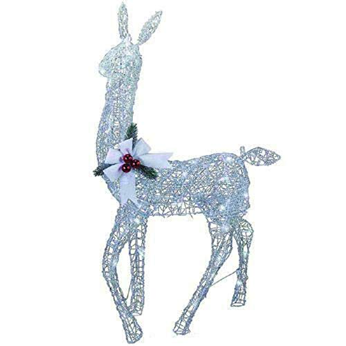 Home Collection Cool White Ice Lighted Doe Deer Sculpture Outdoor Christmas Decoration Yard Lawn Garden Sculpture Seasonal Display (Ice Christmas Sculpture Decorations)