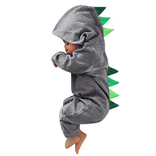 Sikye Infant Cartoon Outfits Newborn Boys Girls Dinosaur Hooded One-Piece Jumpsuit Full Zip Romper Hoodie (Gray, 70 (3-6M))