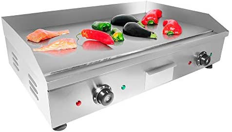 ALDKitchen Electric Countertop Griddle Stainless Steel Adjustable Temp Control Commercial Restaurant Grill Flat 29 x18