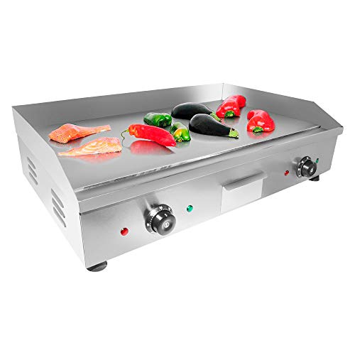 "ALDKitchen Electric Countertop Griddle Stainless Steel Adjustable Temp Control Commercial Restaurant Grill (Flat 29""x18"")"