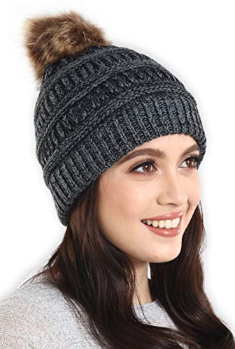 Brook + Bay Faux Fur Pom Pom Beanie - Stay Warm & Stylish - Thick, Soft & Chunky Cable Knit Beanie - Winter Hats for Women & Men - Serious ()