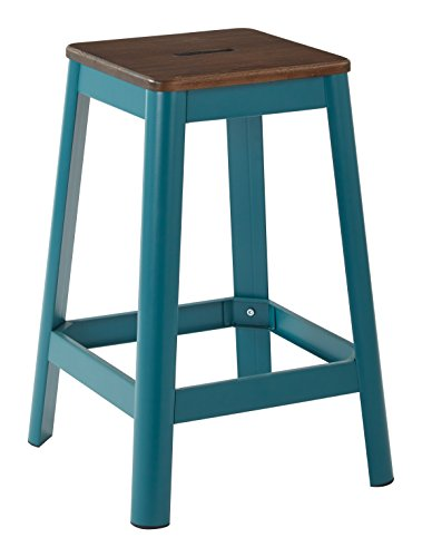OSP Designs Hammond 26 Metal Barstool with Darkwood Seat Frosted Teal Frame Finish KD