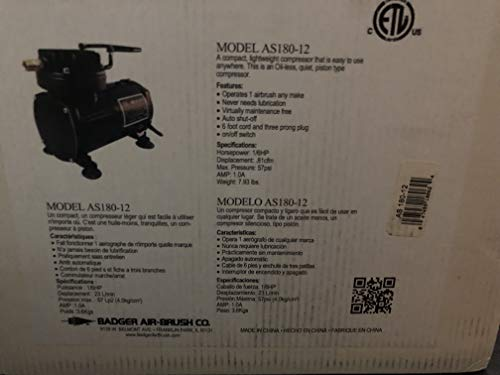 Badger Air-Brush Co. AS180-12 Airstorm Compressor 47459180624