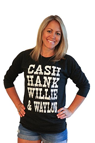 Womens Shirt CASH HANK WILLIE & WAYLON country Shirt by Tough Little Lady; BB Blk/Wh LG