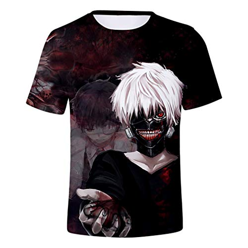 - Short Sleeve Kaneki Ken Digital Printing Tokyo Ghoul Casual Unisex T-Shirts Tops Sports Costume Summer Beach Tee (Including Child Size),A,150
