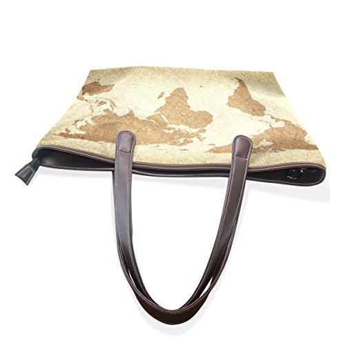 Patern Ladies Shoulder Large Tote World Handbag Map Bags Top Bennigiry Women Vintage Handle aqvZZP