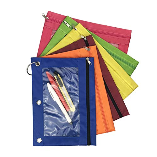 Miukada 3-Ring Pencil Pouches.Zippered Binder Pencil Bags Pencil Cases with Clear Window.Used for Storing School,Office,Artist Supplies.(6 Color Pouches Packed)(Free Bonus of Three 1.5'' Binder Rings) by Miukada (Image #1)