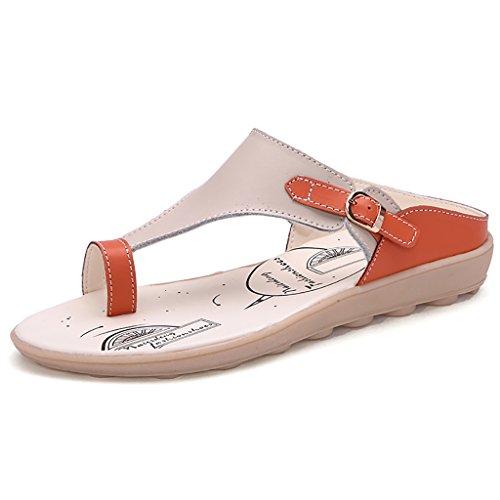 PENGFEI Zapatillas de Verano Playa Sandalias de Playa Mujer Ocio Simple Sandalias Planas Antideslizantes Azul, Naranja y Amarillo (Color : Azul, Tamaño : EU35/UK3.5/L:225mm) Naranja