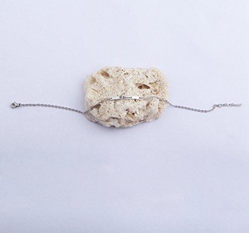 FEELMEM Blessed Hand Stamped Bar Anklet Bracelet Adjustable Chain Ankle Bracelet for Women (silver) by FEELMEM (Image #3)