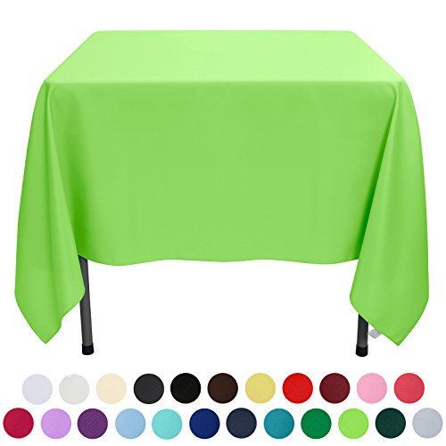 VEEYOO 70 inch Square Solid Polyester Tablecloth for Wedding Restaurant Party, Apple Green