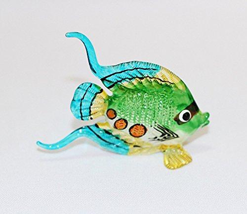 ChangThai Design Aquarium Coastal Style Miniature Hand Blown Art Glass Fish Green Figurine Collection