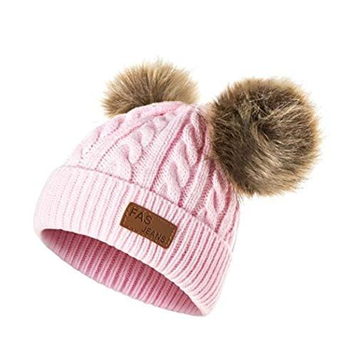 masite Girls Boys Knit Cap Warm Fur Ball Baby Winter Knit Hat Children Beanie Hats & Caps Light Pink