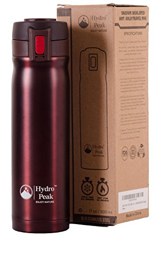 Hydro Peak 17oz Double Wall Vacuum Insulated High Quality 304 Stainless Steel Coffee Travel Mug, One Touch Lock Lid Thermos Water Bottle, Keeps Drinks Hot for 12 Hours and Cold for 24, Mulberry Red