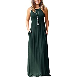 GRECERELLE Women Sleeveless Long Maxi Fall Casual Dresses Dark Green-L