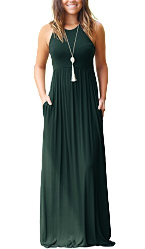 GRECERELLE Women's Sleeveless Racerback and Long Sleeve Loose Plain Maxi Dresses Casual Long Dresses with Pockets Dark Green-XS