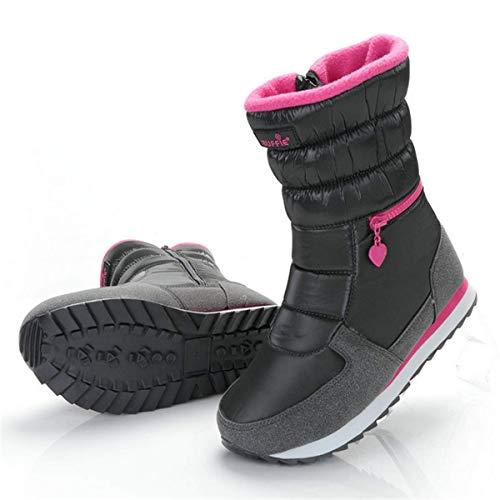 Mi Neige Bootines De mollet Noir Chaude Pluis Femme Fourrée fanessy Bootes Doublure Blanc Bottes Hiver Homme Bottines Gris Ski PCqwd11H