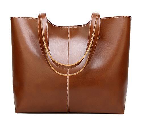 - Hycurey Women PU Leather Bag Simple Style Shopping Handbag Shoulder Tote Bag Brown