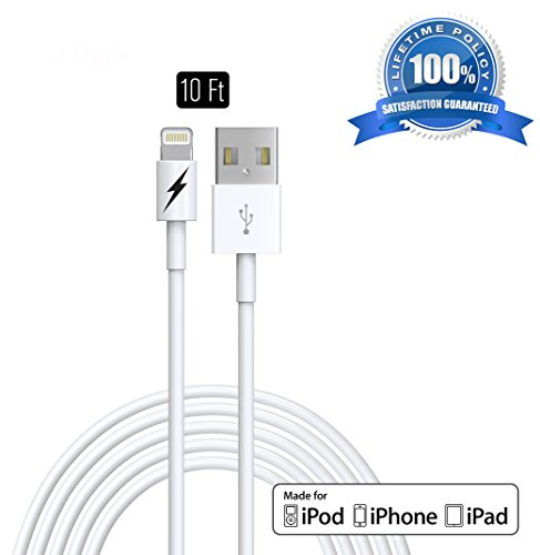 10 FT Certified iPhone 5 & 6 Charging Cable Lightning Cord - Genuine Authentication Chip Ensures The Fastest Charge and Sync For Latest iPads iPods & IOS Devices.!