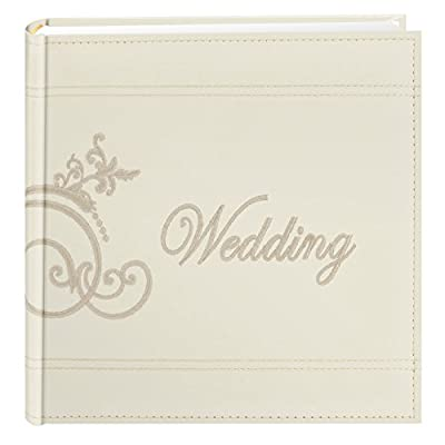 Pioneer Embroidered Scroll and Wedding Sewn Leatherette Cover Photo Album, Ivory
