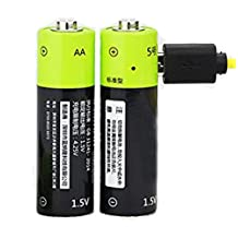"Rechargeable Batteries, IreVoor High Performance Lithium Ion 1250mAh Micro-USB Rechargeable AA Batteries LR06 1.5V 3000 Cycle, 1.97"" Height, 0.55"" Length, 0.55"" Width (Pack of 2)"
