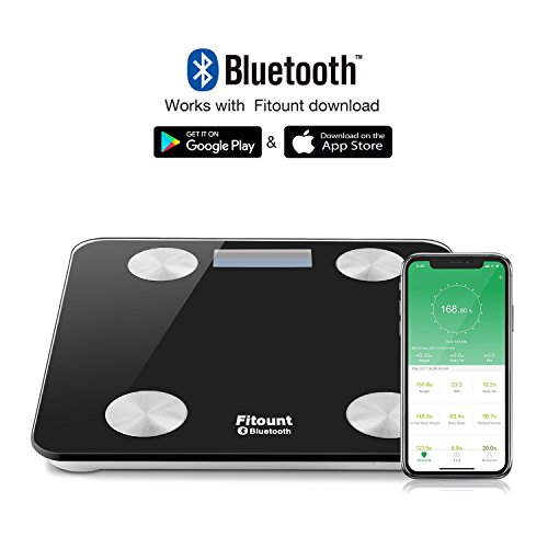 Bluetooth Body Fat Scale,Fitount Smart Wireless Digital Bathroom Weight Gurus Scale Body Composition Analyzer with App for Body weight Body Fat Water Muscle Mass BMI BMR Bone Mass Visceral Fat by Fitount (Image #2)
