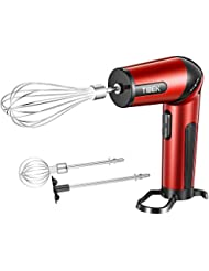 Hand Mixer The Most Portable Egg Beaters, Adjustable Head for Whisk/Beat/Mix with 2 Speed Handheld Mixer, Cordless Rechargeable Electric Hand Mixer, Red/Black - TIBEK