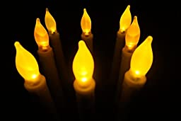 LED-Magic(TM) Set of 12 Flameless Ivory Mini Wax Dipped Flickering Amber LED Battery Timer Taper Candles