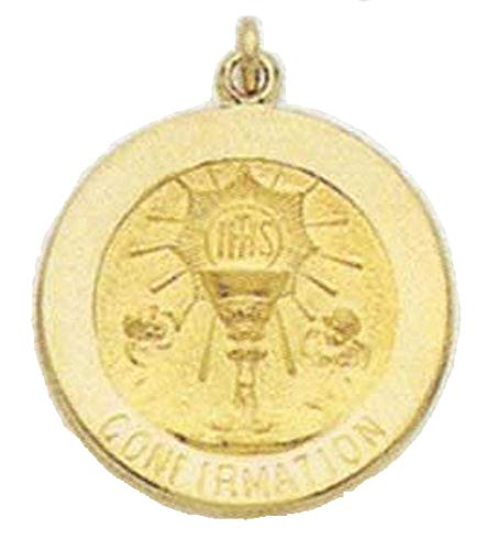 PicturesOnGold.com 14K Gold Confirmation Religious Medal - 1/2 Inch (12.0mm) Solid 14K Yellow Gold with Engraving
