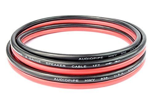 6 FT 8 Gauge Sub woofer Speaker Wire RED/BLACK Copper Mix Power and Ground